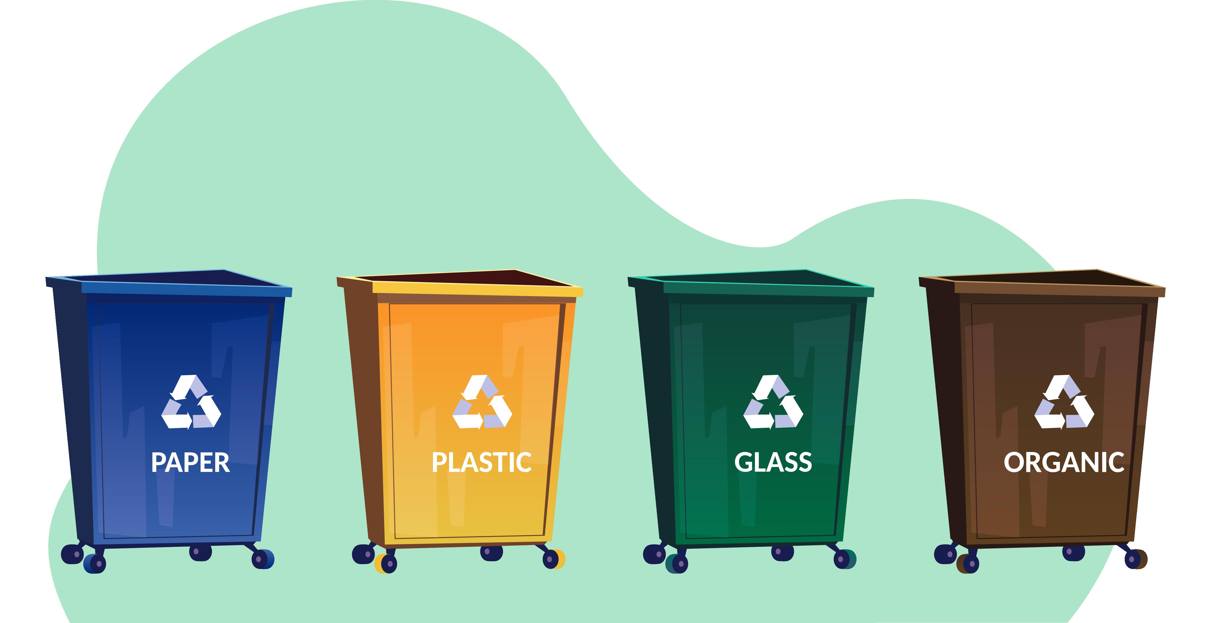 Cubos de basura separados